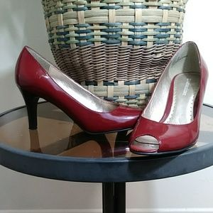 Naturalizer Red Patent Leather Open Toe Heels